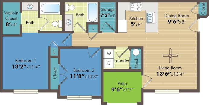 ALD 2 bed floor plan
